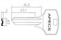 Заготовка ключа APECS | AP-2D | APK1 | APE1 | APEX4
