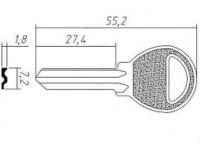 Заготовка ключа BAD-1 | BAD1R | E-116
