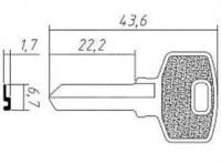 Заготовка ключа BUL5D | H-186 | BUL5 | BUT2R_x | Bulat